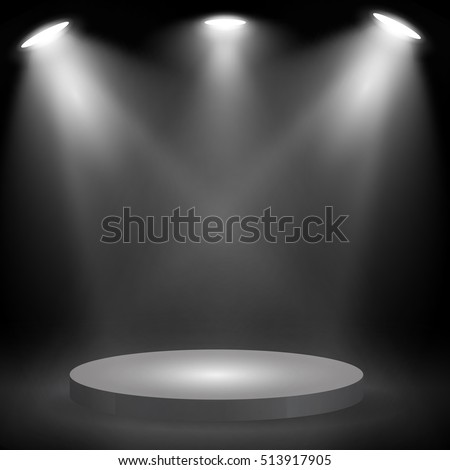 Round podium, pedestal or platform  illuminated by spotlights on black background. Stage with scenic lights. Vector illustration.