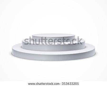 Round podium. Realistic vector illustration - stock vector