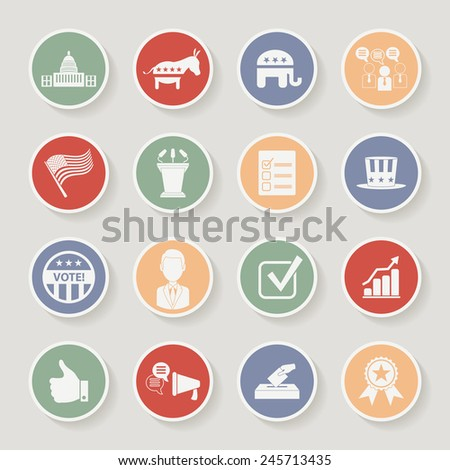 Round political election campaign icons set. Vector illustration - stock vector