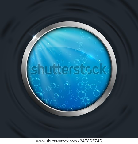 Round porthole of the boat. The water outside. Vector illustration. - stock vector