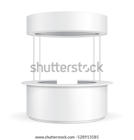 Round POS POI Blank Empty Advertising Retail Stand Stall Bar Display With Roof, Canopy, Banner. On White Background Isolated. Mock Up Template Ready For Your Design. Product Advertising Vector EPS10