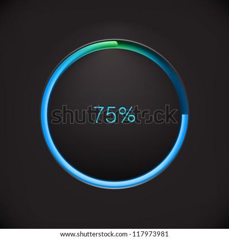 Round preloading  progress bar on black background with blue-green buffering indicator. Web preloader. Download bar. Vector illustration - stock vector