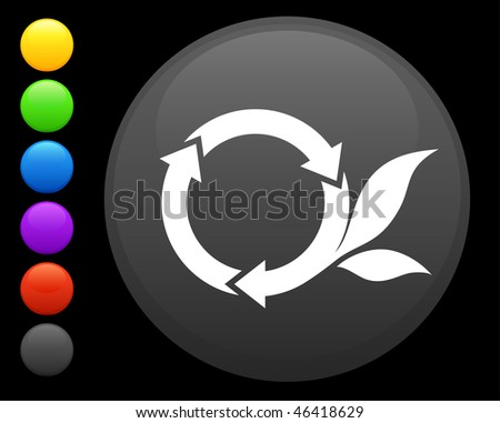 round recycle icon on round internet button original vector illustration 6 color versions included - stock vector
