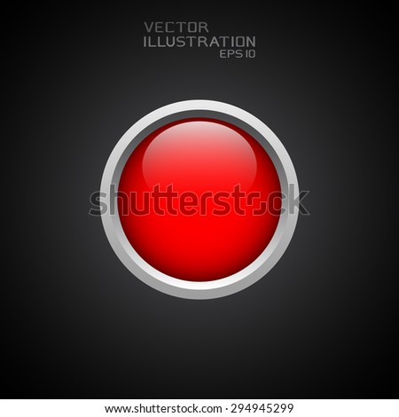 Round red web button. Vector illustration.