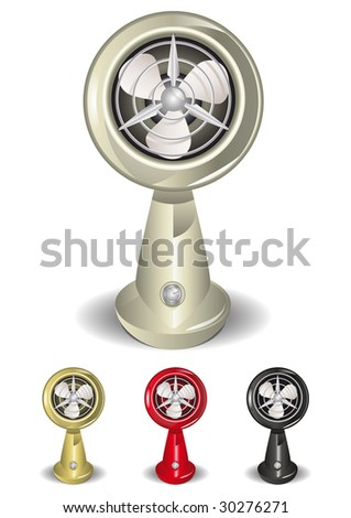 Round Retro Fan Illustration (Global Swatches Included) - stock vector