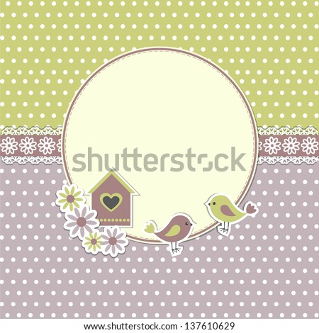Round retro frame with birds and birdhouse - stock vector