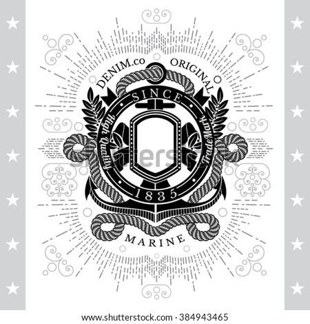 Round Ribbon Frame With Anchor And Rope. Sea Vintage Black Label Isolated On White - stock vector