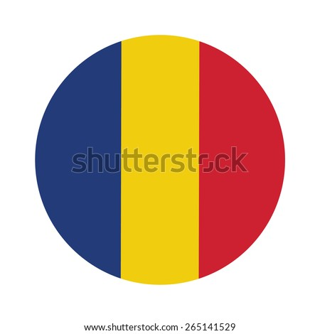 Round romania flag vector icon isolated, romania flag button - stock vector