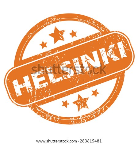 Round rubber stamp with city name Helsinki and stars, isolated on white - stock vector