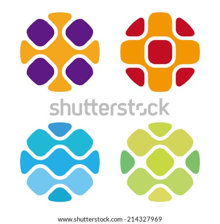 Round science molecule DNA style vector logo design template.Chip icon. Electronics circuit concept. You can use in biotechnology, energy, water and electricity equipment, computer concept icons. - stock vector