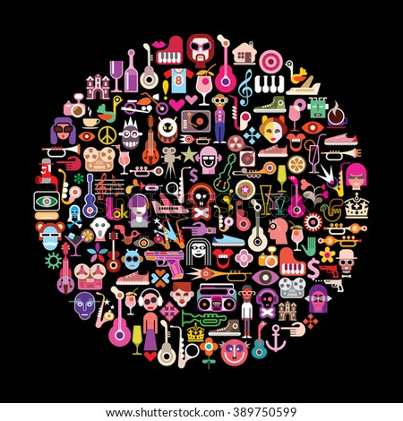 Round shape art collage of multitude color objects and icons on black background. Vector illustration.  - stock vector