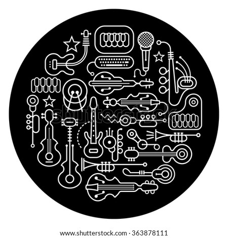 Round shape vector illustration of various musical instruments. Art line silhouettes on a black background. - stock vector