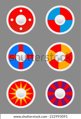 Round shields icons set - stock vector