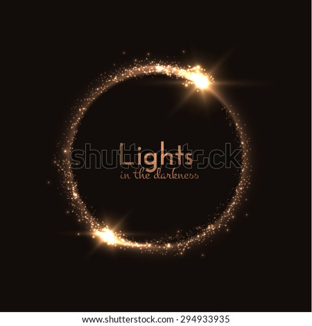 Round shiny frame background. Magic lights background. Vector eps10. - stock vector