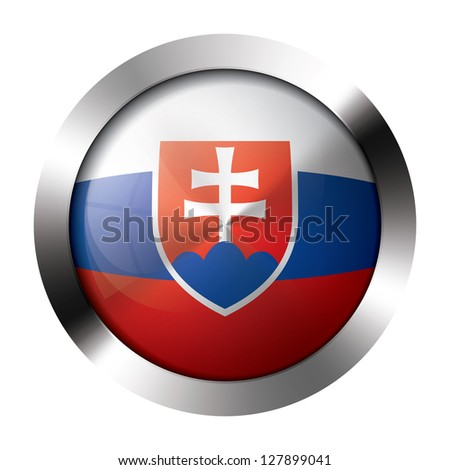 Round shiny metal button with flag of slovakia europe.