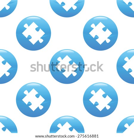 Round sign with silhouette of puzzle piece repeated on white background - stock vector