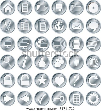 Round, silvery web buttons and icons