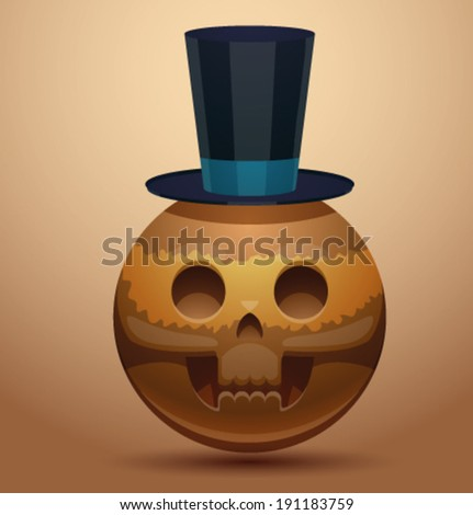 Round skull in tall hat, vector - stock vector