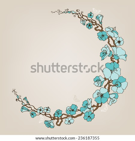 Round small blue flowers decoration or frame - stock vector