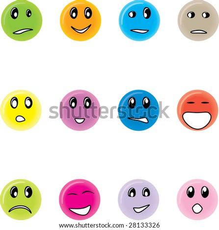 Round smiles - stock vector
