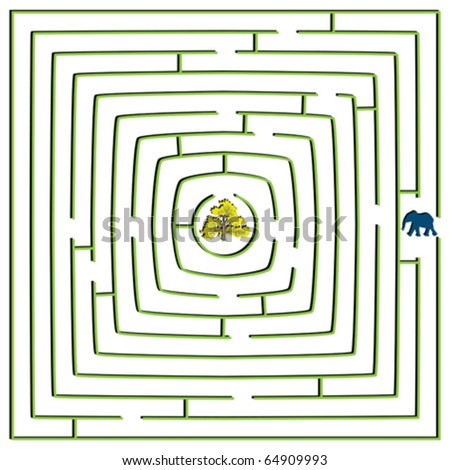 round square maze with elephant and tree, abstract vector art illustration - stock vector