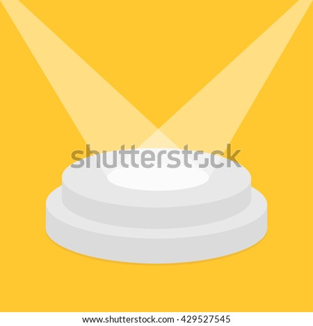 Round stage podium illuminated by spotlights. Empty pedestal for display. 3d realistic platform for design. Isolated. Yellow background. Template. Flat design. Vector illustration - stock vector