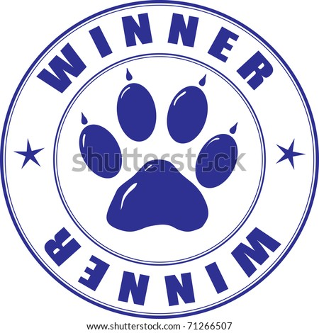 Round stamp with the paw and inscription - winner - stock vector