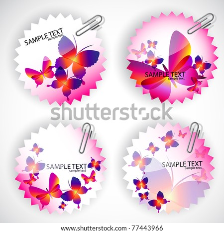 Round sticker with butterflies. Vector illustration set - stock vector
