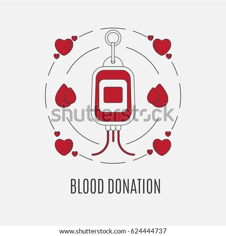 Round stickers or emblem of blood donation logo blood donor in the form of a