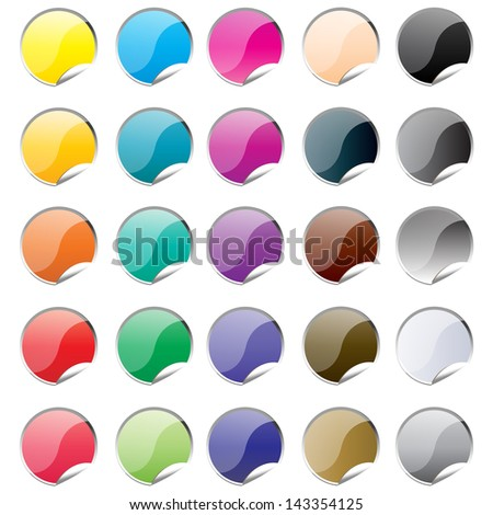 Round stickers set, vector. - stock vector