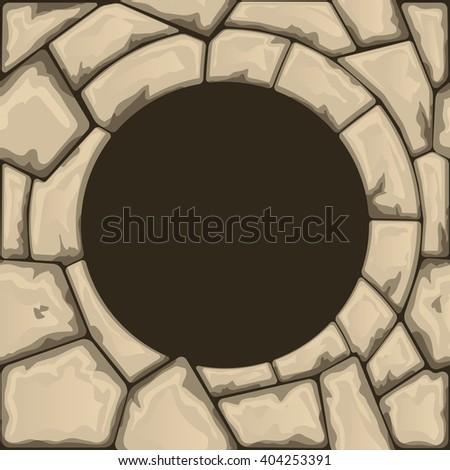 Round stone frame - stock vector