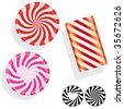 Round swirl candy.  Vector set includes circle, bar, and silhouette mints, as well as Valentine's Day heart peppermints. - stock photo