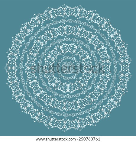 Round swirly design element isolated on blue background. Circle pattern borders in white colors. Vector illustration. Could be used for web-design, decoration, etc.  - stock vector