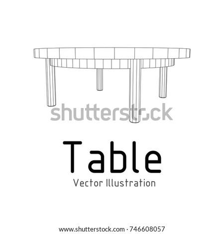 Round table furniture wireframe blueprint linear vectores en stock round table furniture wireframe blueprint linear outline pedestal vector illustration malvernweather Choice Image