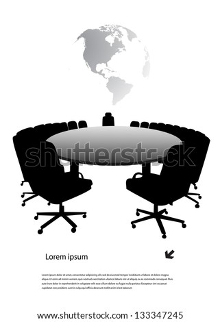 round table on the background of the planet - stock vector