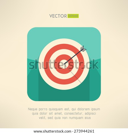 Round target board with arrow icon. Success and accuracy concept. Vector illustration - stock vector