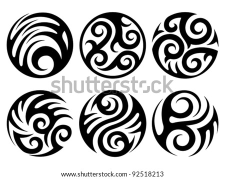 round tattoos - stock vector