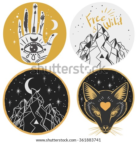 Round templates with mountains, fox head, hand, moon. Vector illustrations in boho style for stickers, t-shirt design and other - stock vector