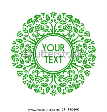 Round text frame with decorative floral elements - stock vector