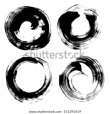 Round textured background painted by hand with a brush 1 - stock vector