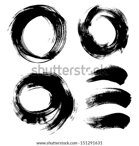 Round textured background painted by hand with a brush 2 - stock vector