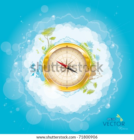 Round the world - nature design with compass, eps-10 - stock vector