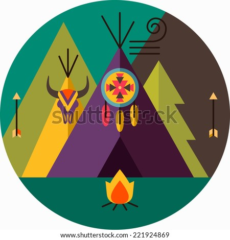 Round tribal vector picture with wigwam, arrow, fir tree, animal skull, bonfire, dreamcatcher; native american  illustration - stock vector