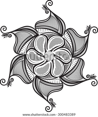 Round unusual asymmetrical decorative element - lace mandala in zentangle style. Stylized vector flower for design or tattoo.  - stock vector