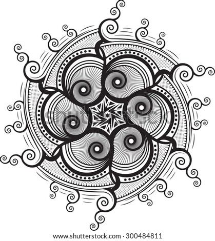 Round, unusual, asymmetrical decorative element - lace mandala in zentangle style. Stylized vector flower for design or tattoo.  - stock vector