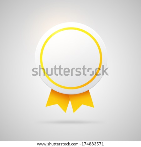 Round vector award with golden ribbons