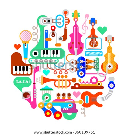 Round vector composition of musical instrument and equipment. Isolated on white background.  - stock vector