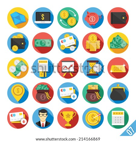Round vector flat icons set with long shadow for web and mobile apps. Colorful modern design illustrations,elements,concepts of banking,financial service, business growth, investment, accounting, etc. - stock vector