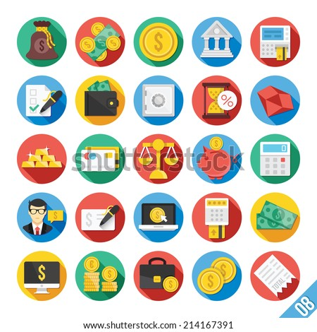 Round vector flat icons set with long shadow for web and mobile apps. Colorful modern design illustrations, concepts of finance,business,banking system,keeping money safe.Isolated on white background.