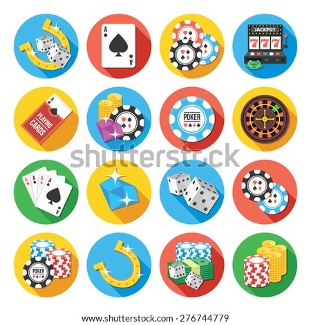 Round vector flat icons set with long shadow for web and mobile apps. Colorful modern design illustrations, concepts of  gambling icons, money, poker icons, casino icons. Isolated on white background - stock vector